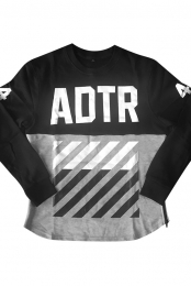 Striped Zippered Crewneck