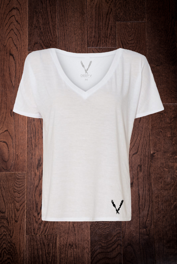 Women's Slouchy V-Neck Tee (White)
