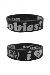 Keep A Breast I Love Boobies! Bracelet (White on Black)