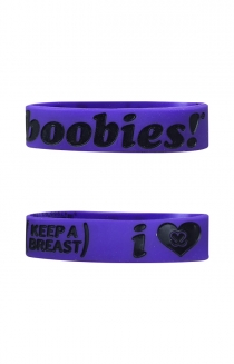 Keep A Breast I Love Boobies Wristband (Black On Purple)