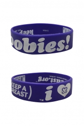 Keep A Breast I Love Boobies Wristband (White On Purple)