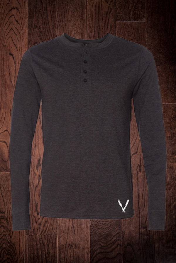 Long Sleeve Henley (Dark Grey Heather)
