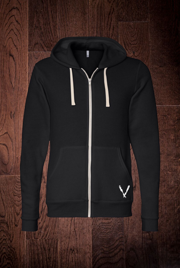 Fleece Zip Up Hoodie (Black Tri-Blend)