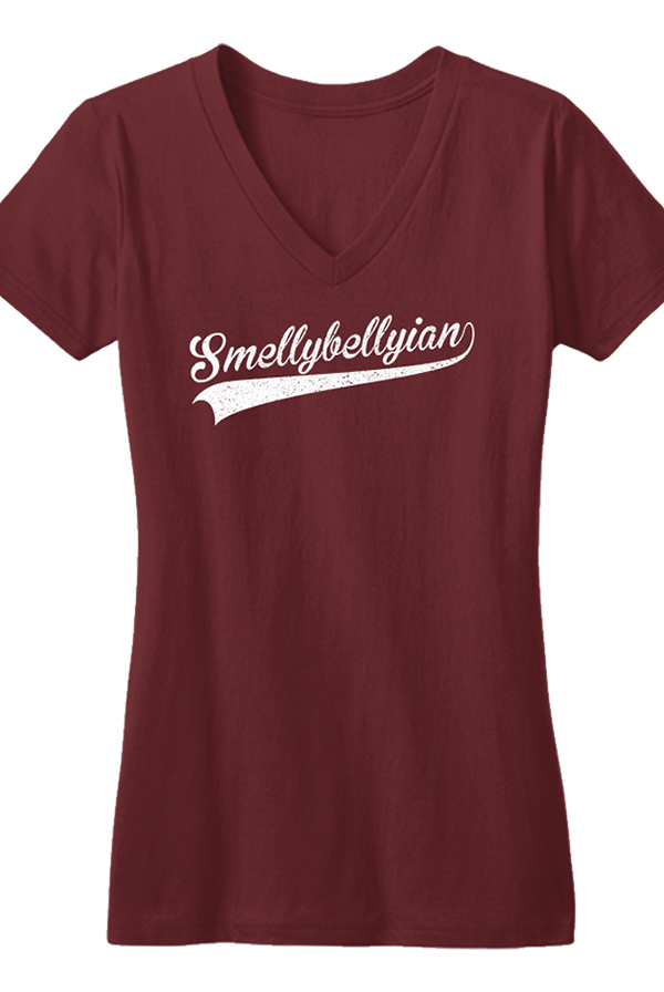 Smellybellyian Ladies V-neck (Maroon)
