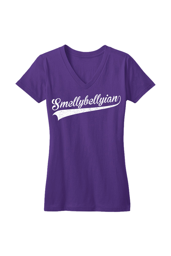 Smellybellyian Youth Girls V-neck (Purple)