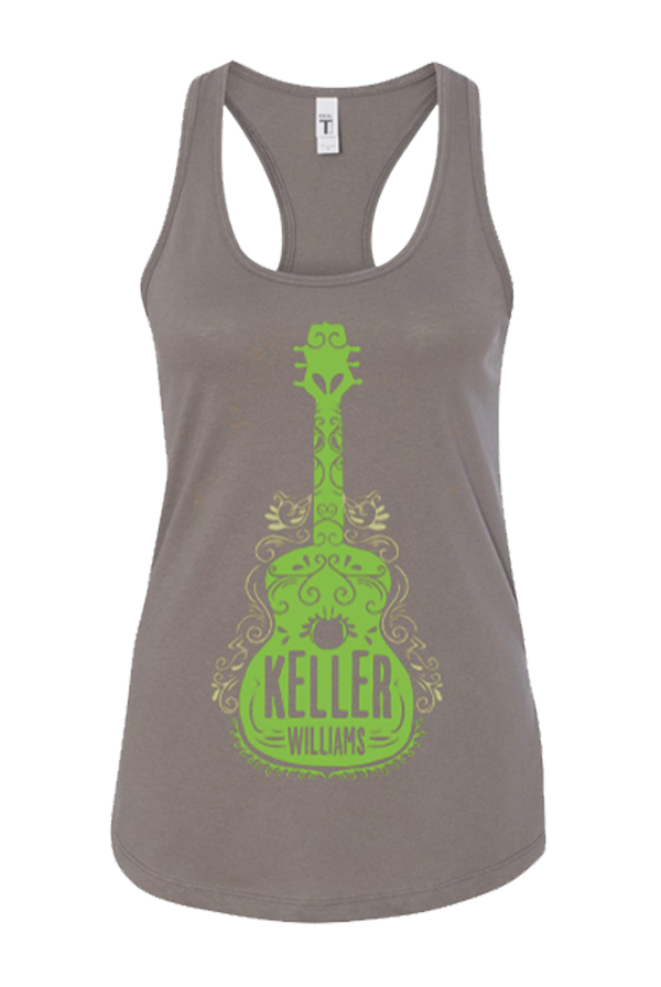 Green Guitar Ladies Tank (Grey)