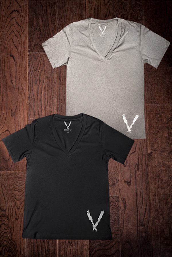 Deep V Tee (Black) + Deep V Tee (Deep Heather)
