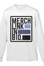Merch Link in Bio Long Sleeve Tee (White)