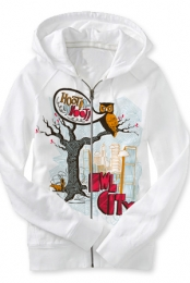 Hoot Hoot Zip Up Hoodie (white)