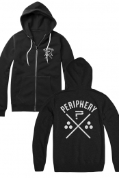 Crossed Zip Up Hoodie (Black)