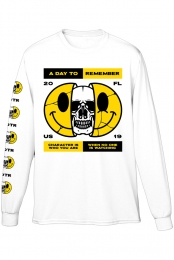 Smiley Skull Long Sleeve Tee (White)