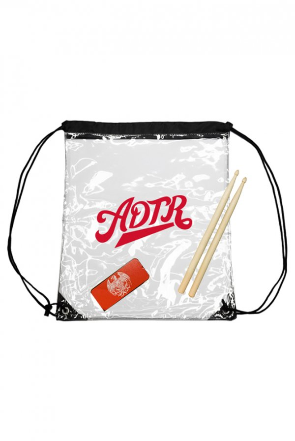 Draw String Bag + Members Guitar Pick Tin & Drum Sticks
