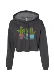 Cactus Pots Cropped Hoodie (Heather Grey)