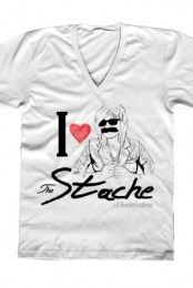 I Heart The Stache V-Neck (White)