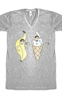 Bananalew & Coneith (Heather Grey V-Neck)