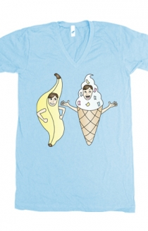 Bananalew & Coneith (Light Blue V-Neck)