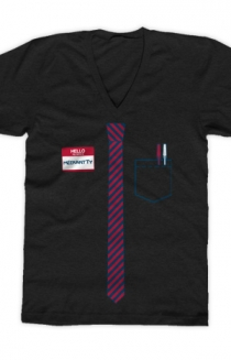 Tie T-Shirt (Black V-Neck)