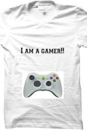 White I am a gamer!! t-shirt