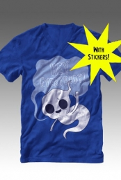 Limited Edition Ghost V-Neck (Blue) + Sticker Pack