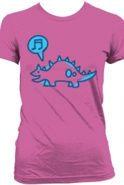 Snazzy Dino Girl's Tee (Blue on Pink)