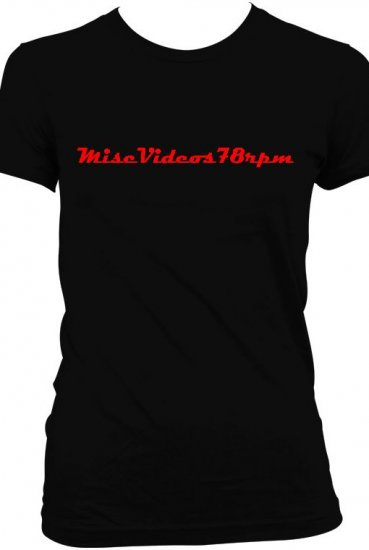 Women 39 s black logo with red writing t shirt for Womens black tee shirt
