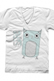 Owl Unisex V-Neck (White)