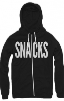 Snacks Zip-Up Hoodie (Black and White)