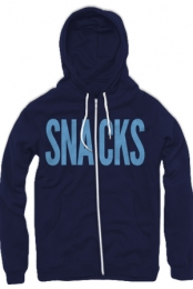 Snacks Zip-Up Hoodie (Navy and Light Blue)