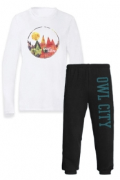 College Sweatpants + Watercolor Mountains Longsleeved Tee