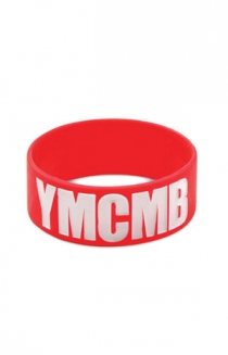White Print on Red Wristband