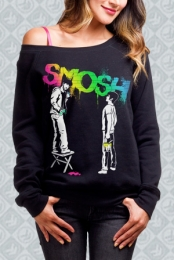 Graffiti Rainbow Off-the-Shoulder Sweatshirt