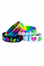 Keep A Breast I Love Boobies! Bracelet - Rainbow 4 Pack