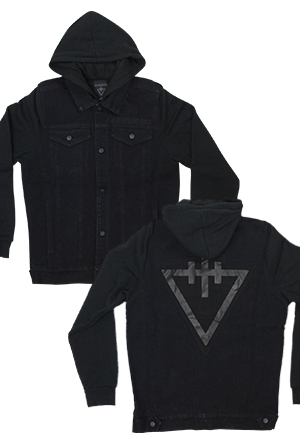 Blacked Out Denim Vested Hoodie