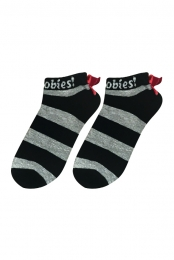 I Love Boobies! No-Show Bow Socks - Black/Grey