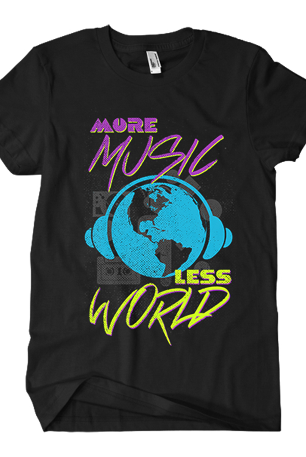 More Music Less World Tee (Black)