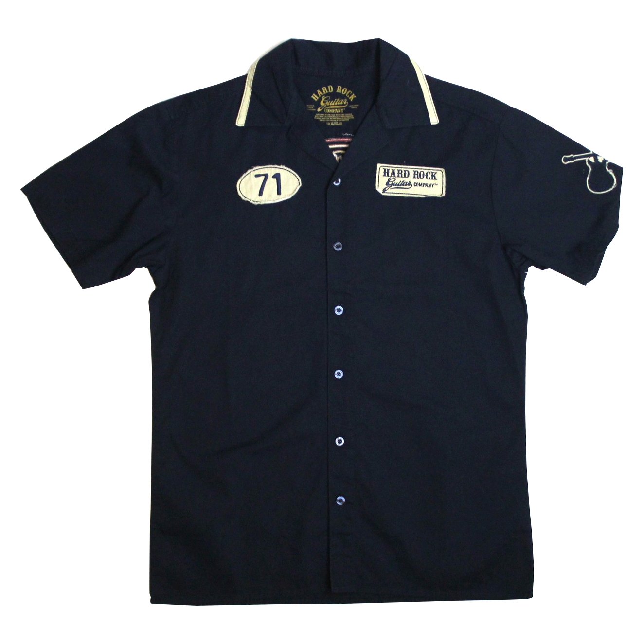 Rock shop guitar company embroidered shirt
