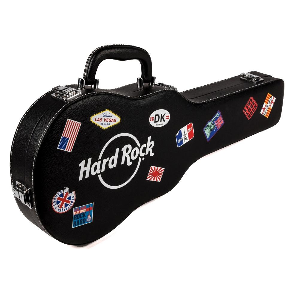 brand new hard rock cafe leather guitar case poker set gambling chips card decks ebay. Black Bedroom Furniture Sets. Home Design Ideas