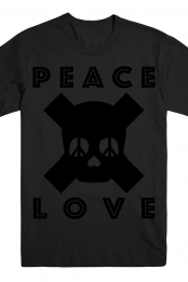 Peace Love Skull Tee (Black on Black)