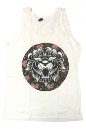 Floral Lion White Tank Top (White)
