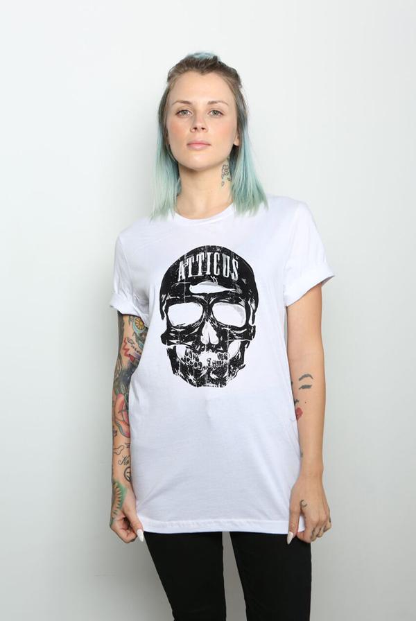 Skull Crew Neck T-Shirt (White) 0