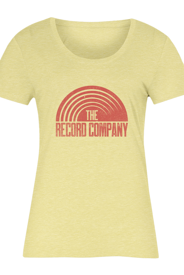 Sun logo women 39 s tee yellow t shirt the record company for Women s company logo shirts