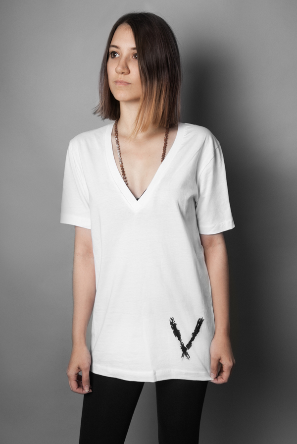 Deep V Tee White T Shirts Deep V Apparel T Shirts