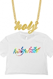 Rainbow Foil Crop Top + Holy Necklace