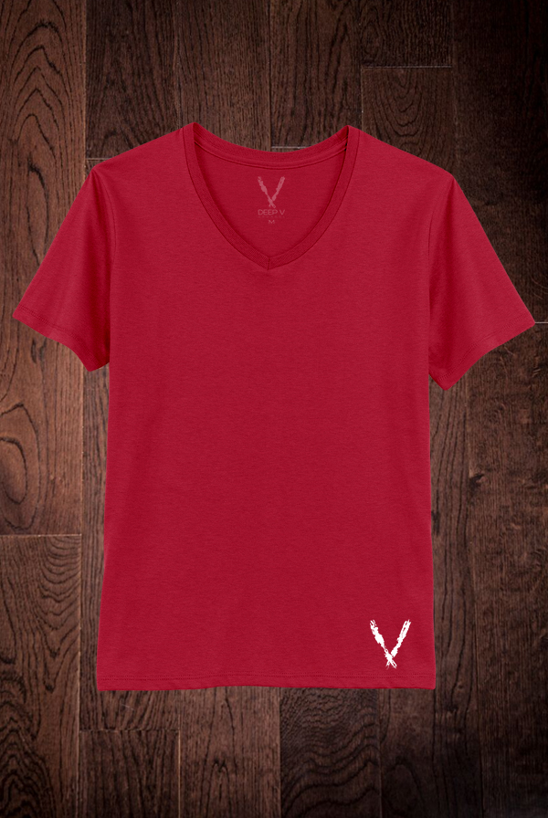 Deep V-Neck Tee (Red)