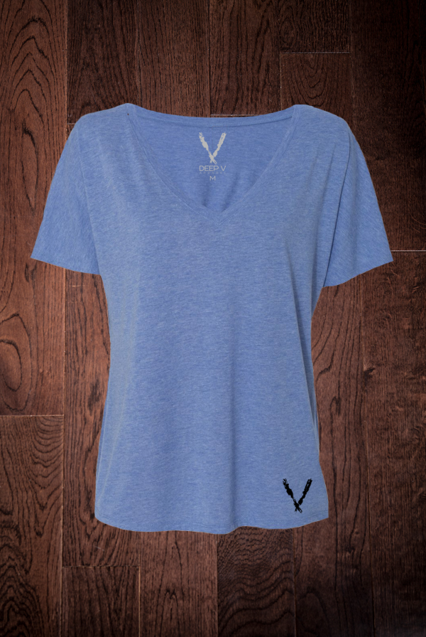 Women's Slouchy V-Neck Tee (Blue TrI-Blend)