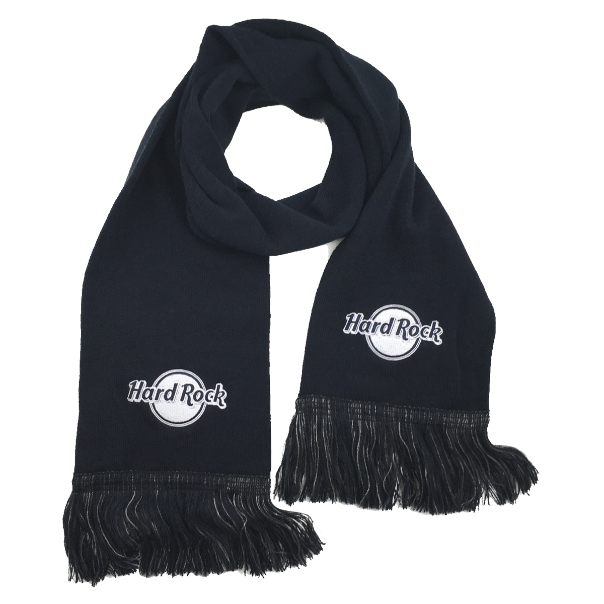 HR Scarf Fringed Black Charcoal 0
