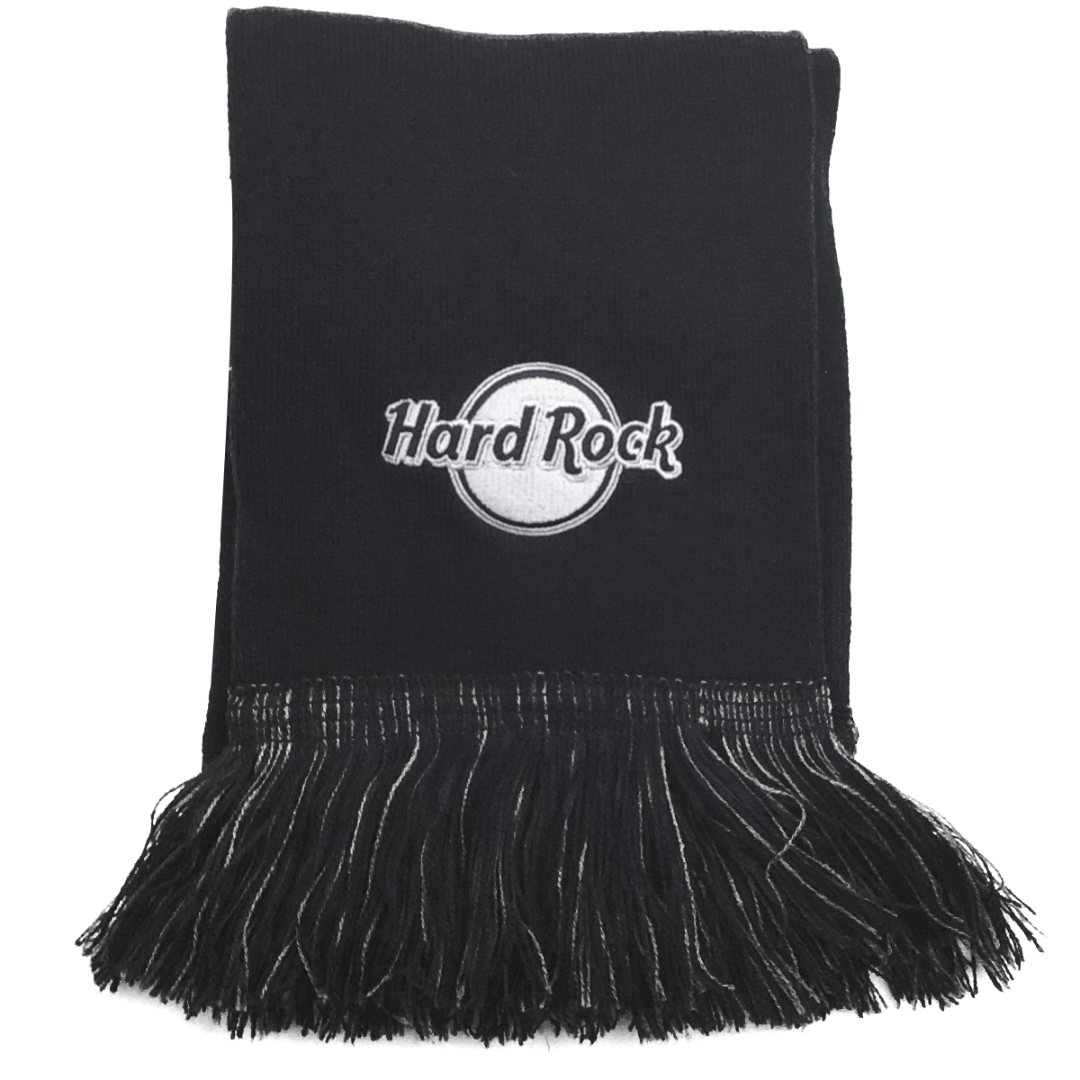 HR Scarf Fringed Black Charcoal 1