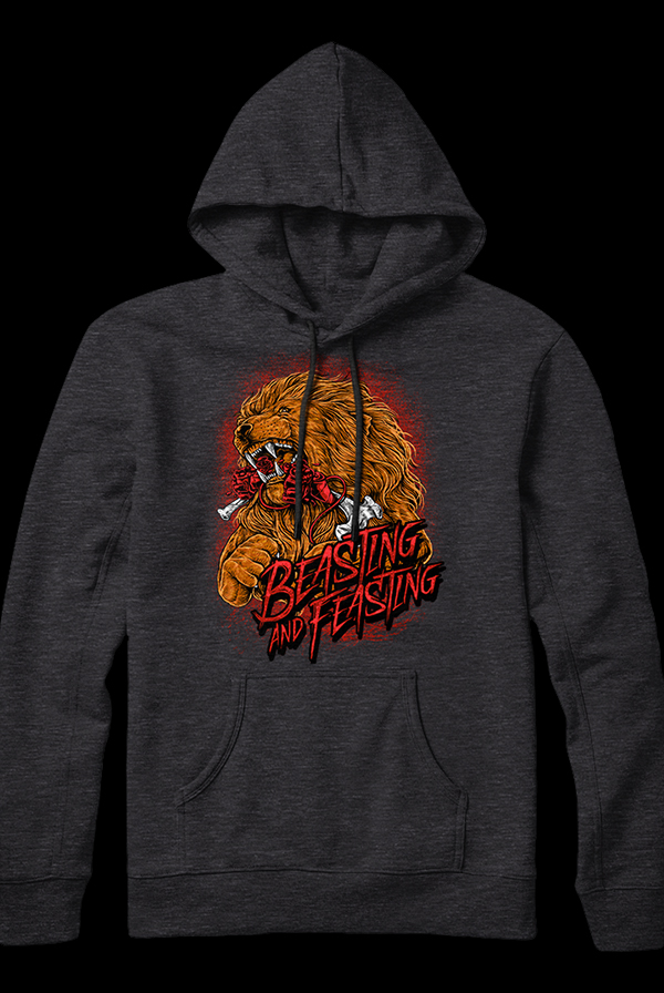 Beasting and Feasting Pullover Hoodie (Heather Charcoal)
