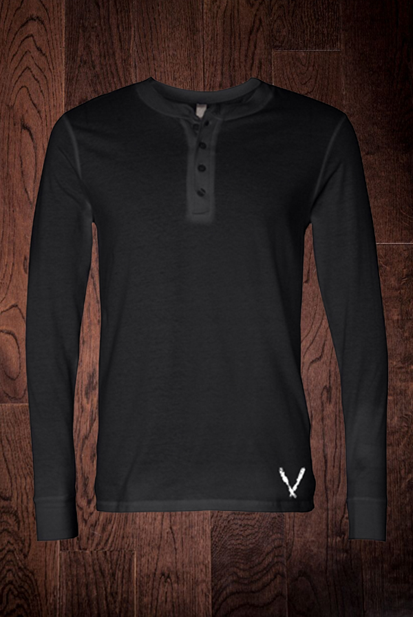 Long Sleeve Henley (Black)