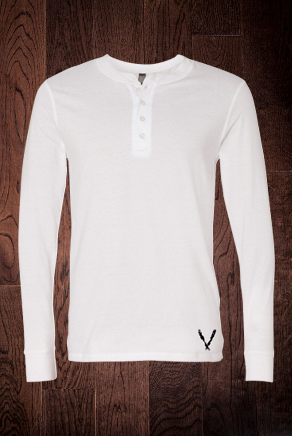 Long Sleeve Henley (White)